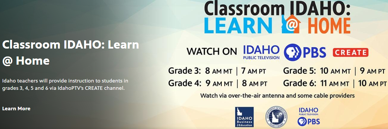 Classroom IDAHO Learn at home poster