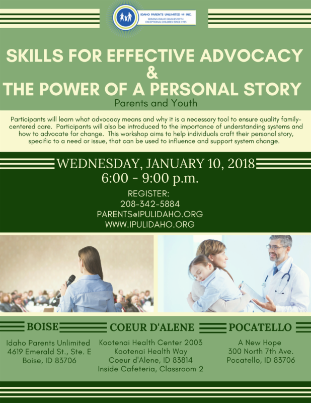Skills for Effective Advocacy & Power of a Personal Story Flyer